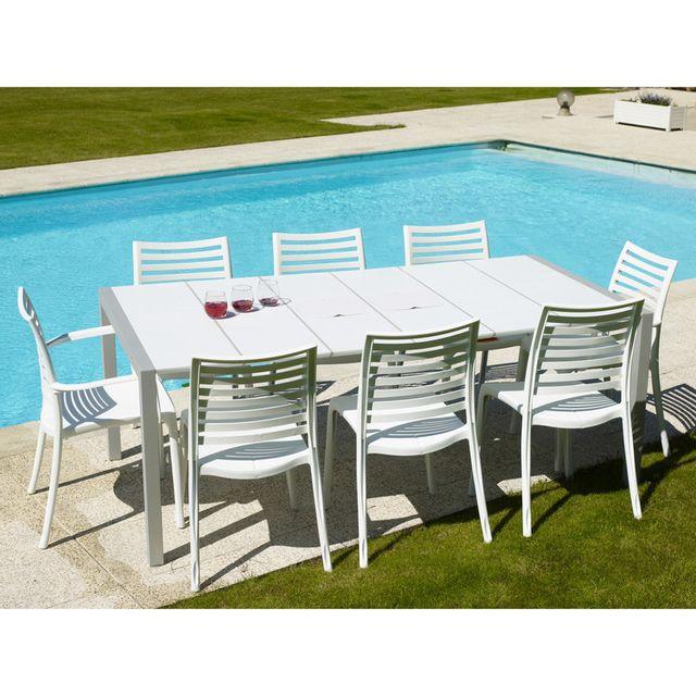 table de jardin en resine 190x100cm pour 8 a 10 personnes 2 bacs apero sunday