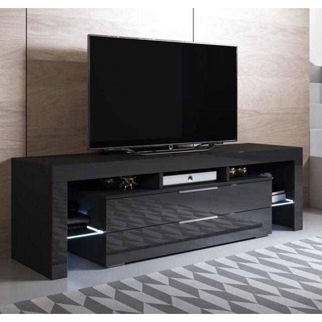meuble tv modele selma 160x53cm couleur noir avec led rgb