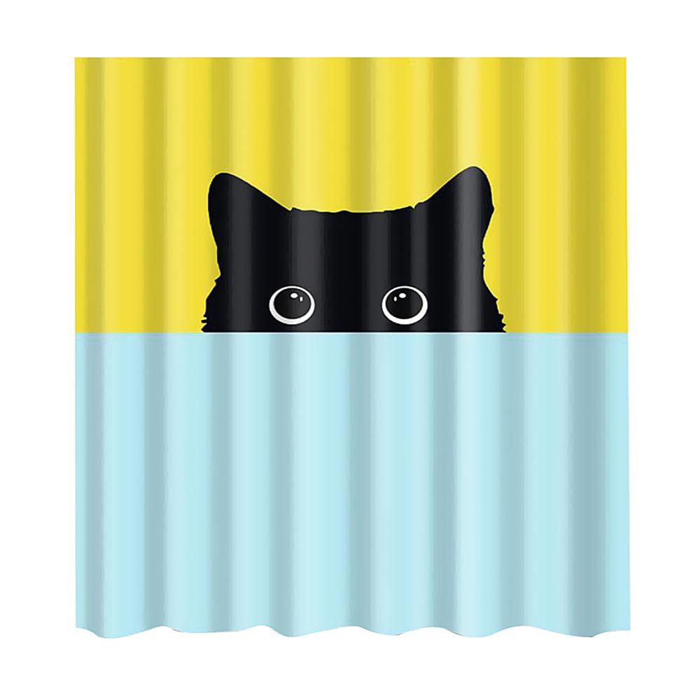 marque generique rideau de douche en polyester avec 12 crochets decoration de salle de bains chat noir