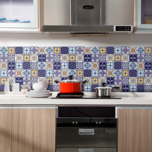 60x200cm auto adhesif carrelage sol sticker mural autocollant bricolage cuisine
