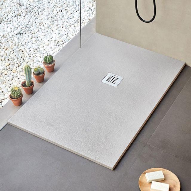 receveur de douche en resine minerale extra plat strato gris 80 x 90 cm