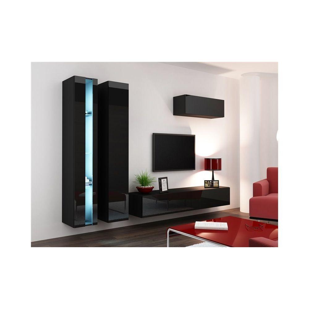 chloe design ensemble meuble tv mural malarmo noir