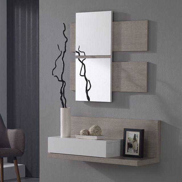 meuble entree couleur bois clair et blanc moderne udson