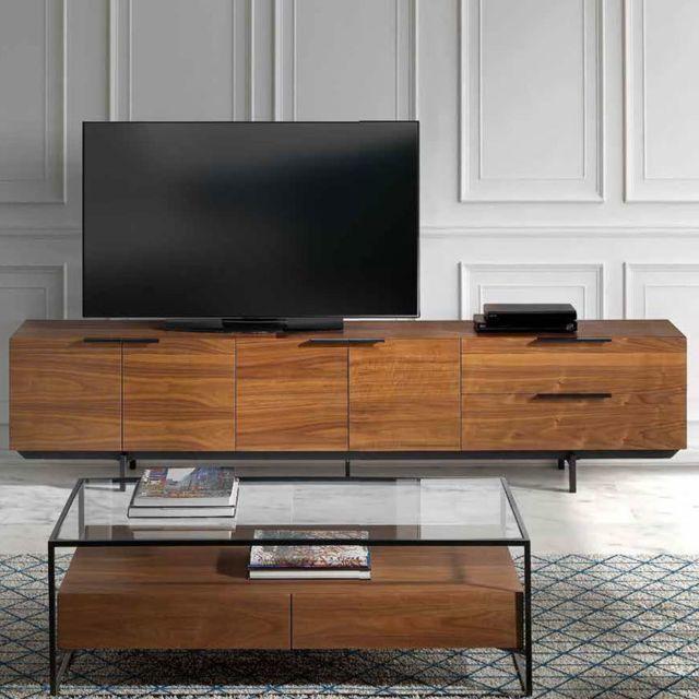 meuble tv contemporain couleur noyer et metal noir artemis