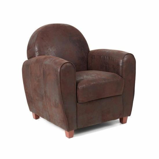 declikdeco fauteuil club effet cuir marron vieilli morgane