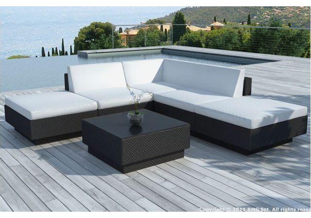 canape d angle table de jardin noir et blanc ecru en resine tressee palace