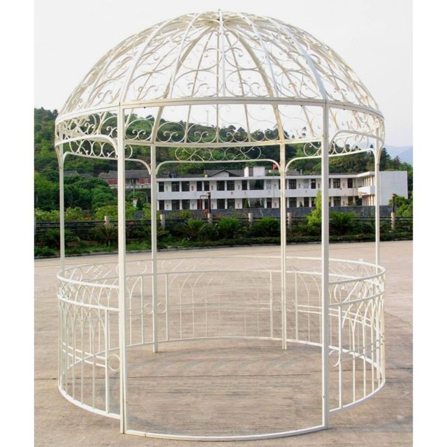 grande tonnelle kiosque de jardin pergola abris rond gloriette en metal blanc