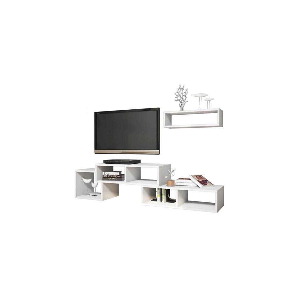 homemania homemania meuble tv armonia moderne avec portes etageres pour salon blanc en bois 169 5 x 35 x 41 8 cm