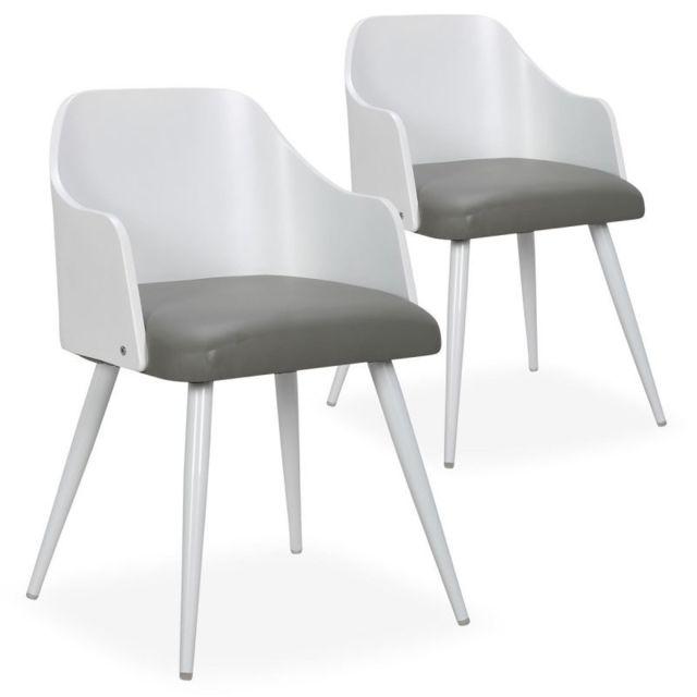 lot de 2 chaises scandinaves adny 73cm blanc gris
