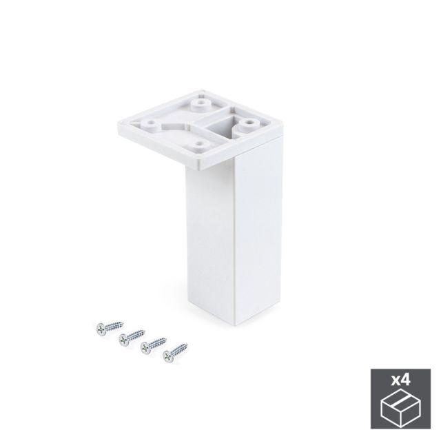 emuca pied pour meubles coin reglable 100 110 mm plastique blanc 4 u