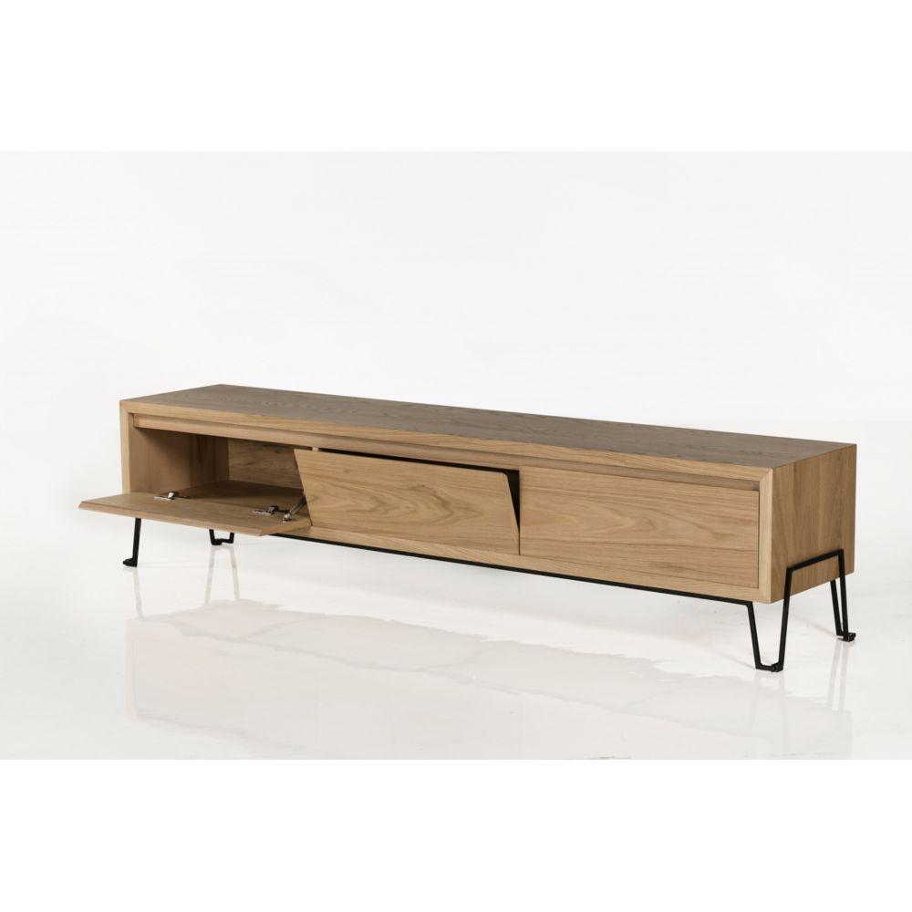 hellin meuble tv bas en chene clair et metal 2 metres brighton
