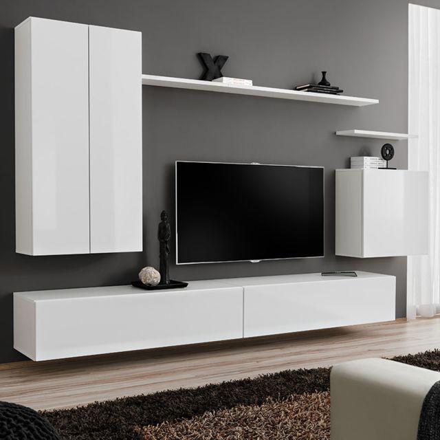 meuble tv suspendu blanc laque irsina 3