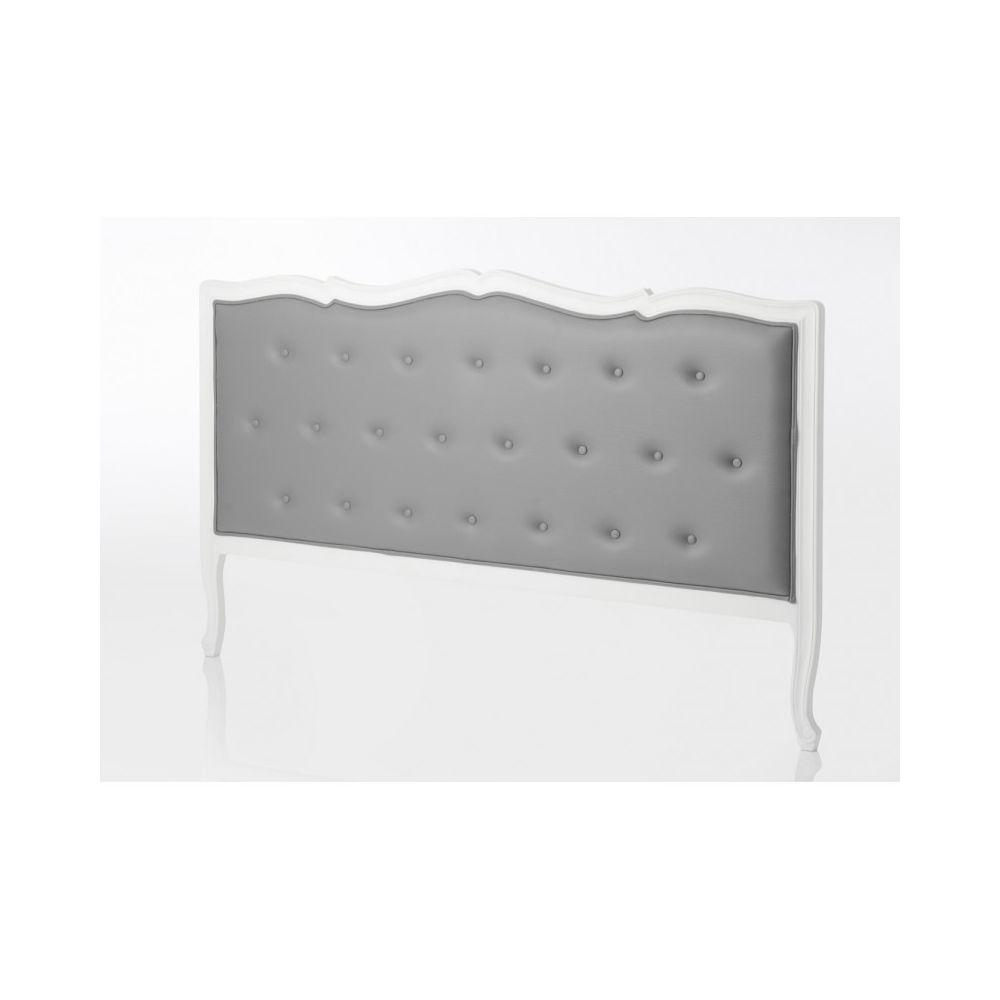 amadeus tete de lit 180 cm en bois blanc capitonne en tissu gris murano celeste