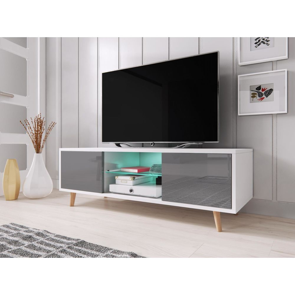 vivaldi vivaldi meuble tv sweden 140 cm blanc mat gris brillant led style scandinave