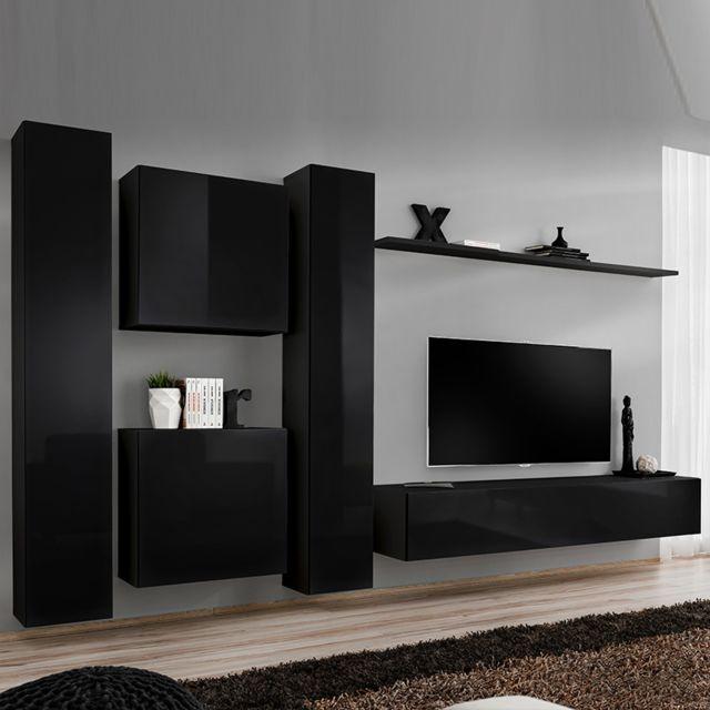 mur tv design noir ginosa 4