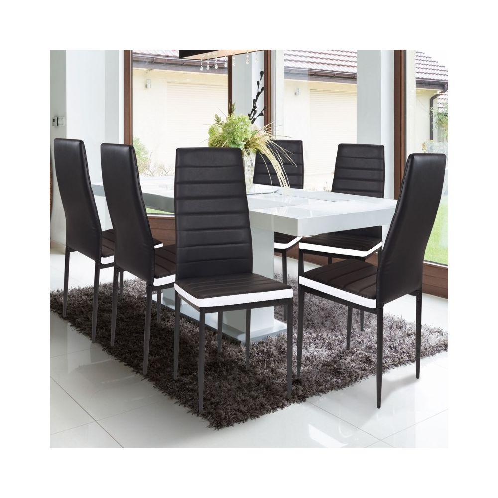 lot de 6 chaises romane noires bandeau
