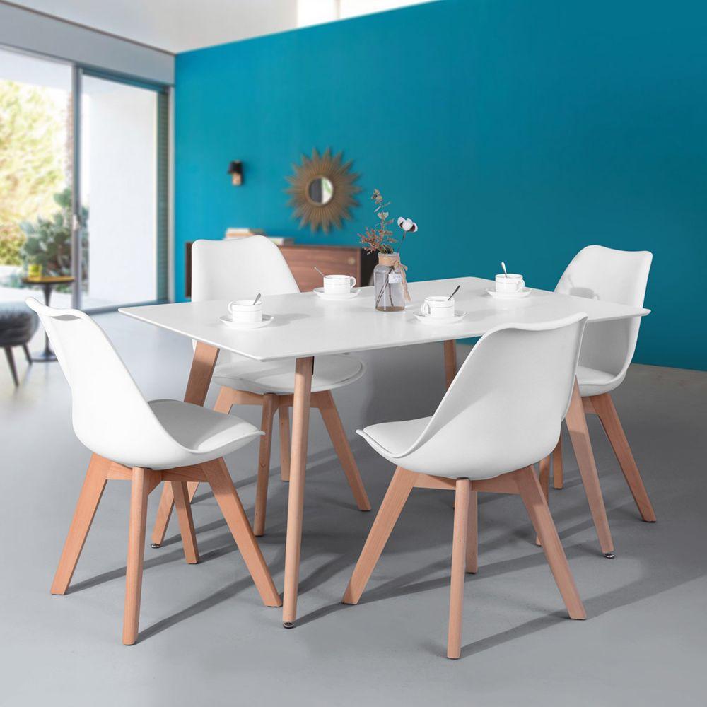 chaises scandinave bois blanc