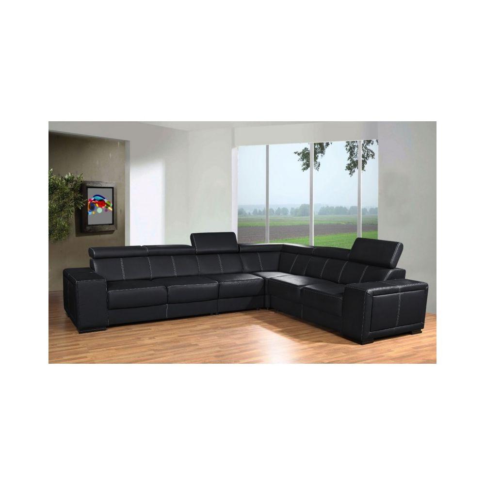 meublesline canape d angle caaria avec tetieres en simili cuir noir design