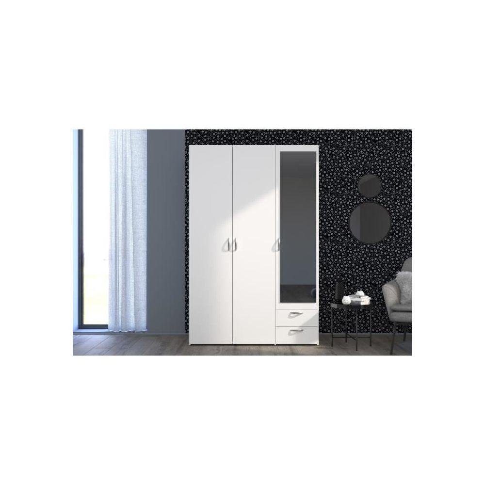 marque generique armoire de chambre varia armoire 3 portes miroir decor blanc l 120 x p 51 x h 185 cm