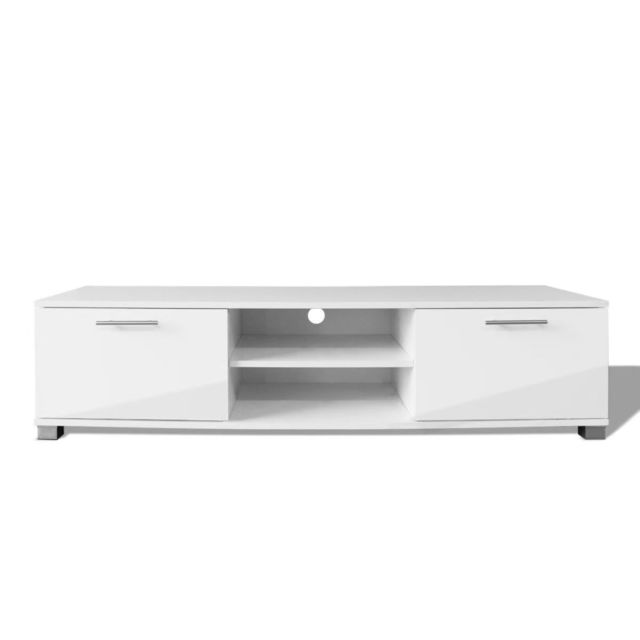 meuble tele buffet tv television design pratique a haute brillance blanc