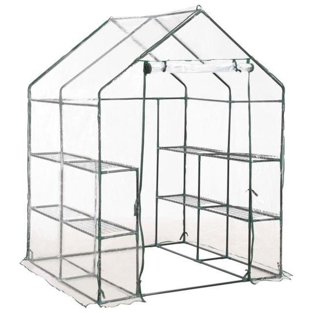 icaverne serres de jardin ensemble serre avec 8 etageres 143x143x195 cm