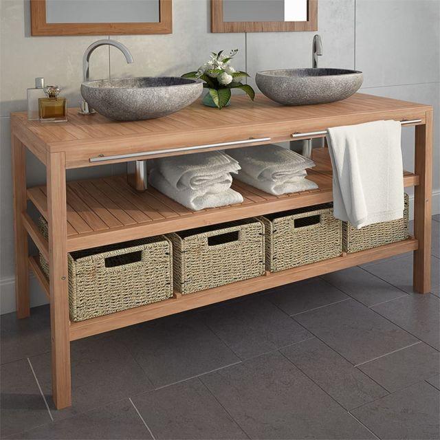 vidaxl meuble de salle de bains avec 4 paniers teck massif 132x45x75cm