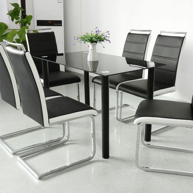 chaises salle a manger lot de 6 simili noir et blanc