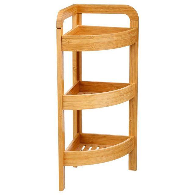 etagere d angle en bambou 3 niveaux