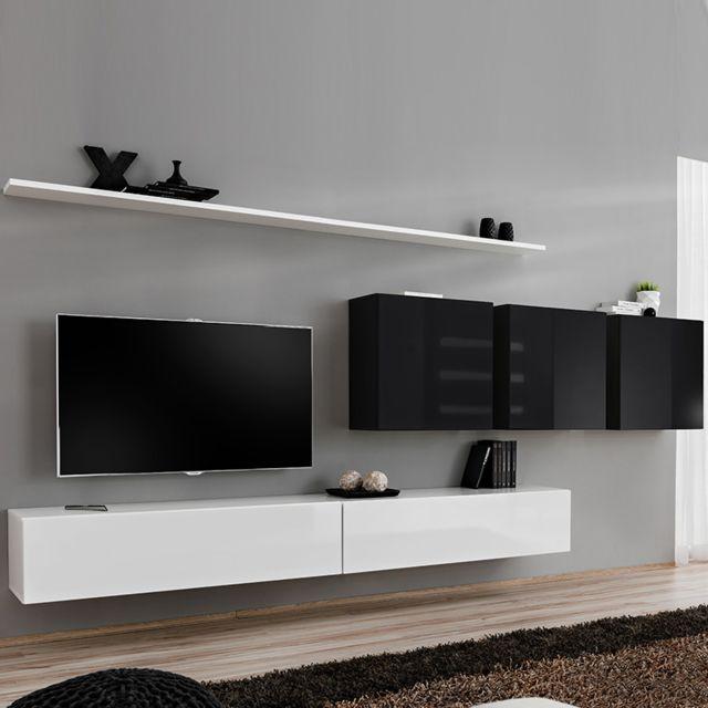 composition tv murale design blanc et noir talsano