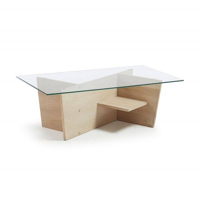 table basse rectangulaire 110x60 en verre et pieds bois arline l 110 x l 60 x