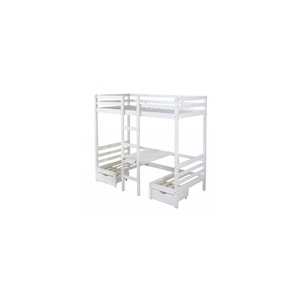 lit mezzanine 90x200 blanc bureau lit