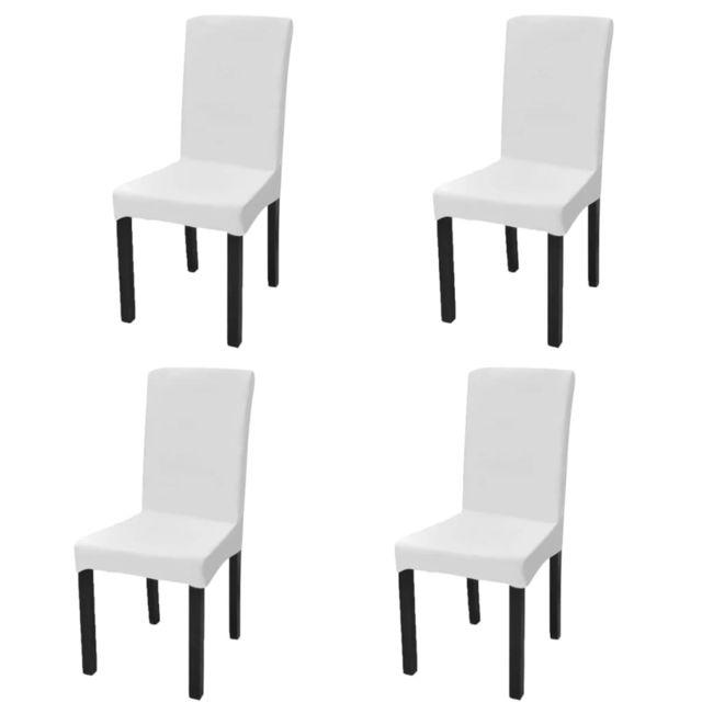 vidaxl housse de chaise droite extensible 4 pcs blanc