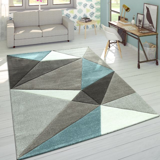 tapis 3d triangles pastel tendance gris turquoise