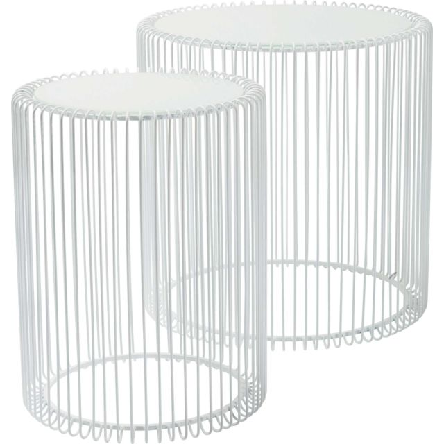 tables d appoint rondes wire blanches set de 2 kare design