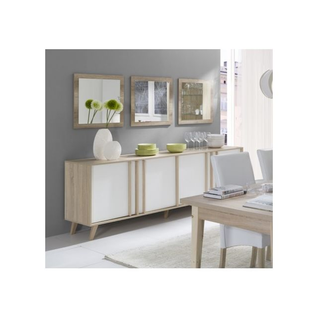 buffet enfilade bahut gm malmo 3 miroirs meuble design type scandinave