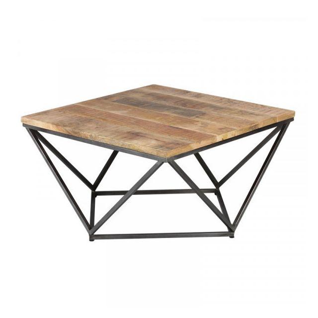 table basse carree metal bois konx l 95 x l 95 x h 50 cm