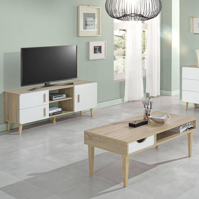 aneby ensemble table basse et meuble tv effet bois