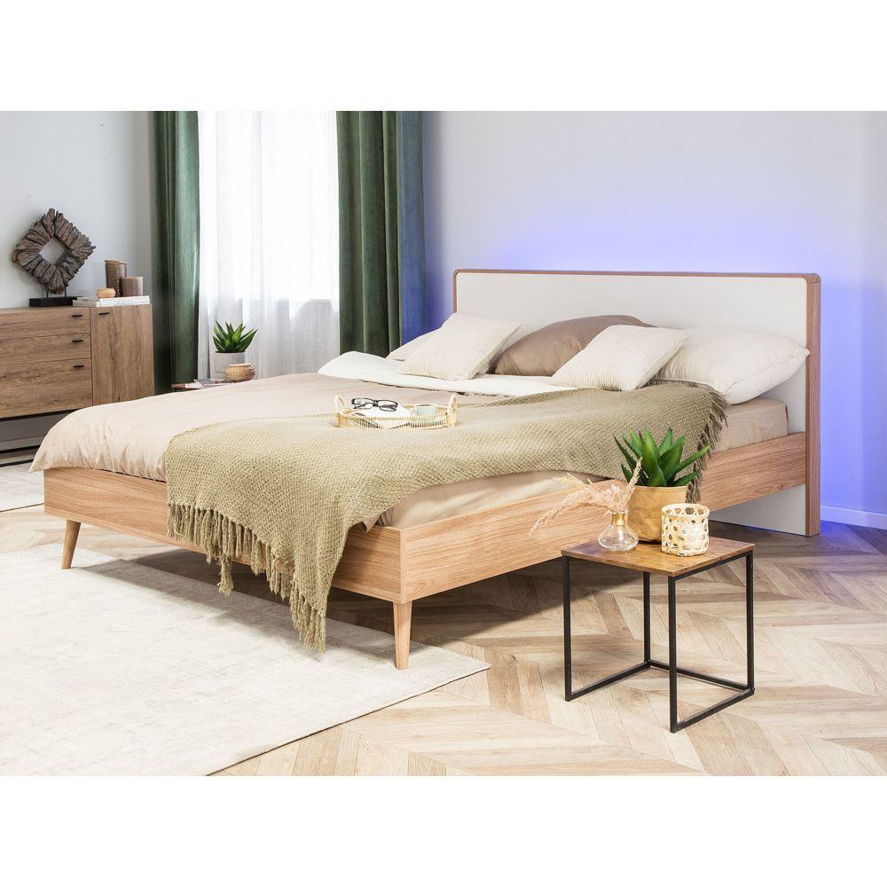beliani beliani lit 140 x 200 cm blanc en bois avec led serris marron