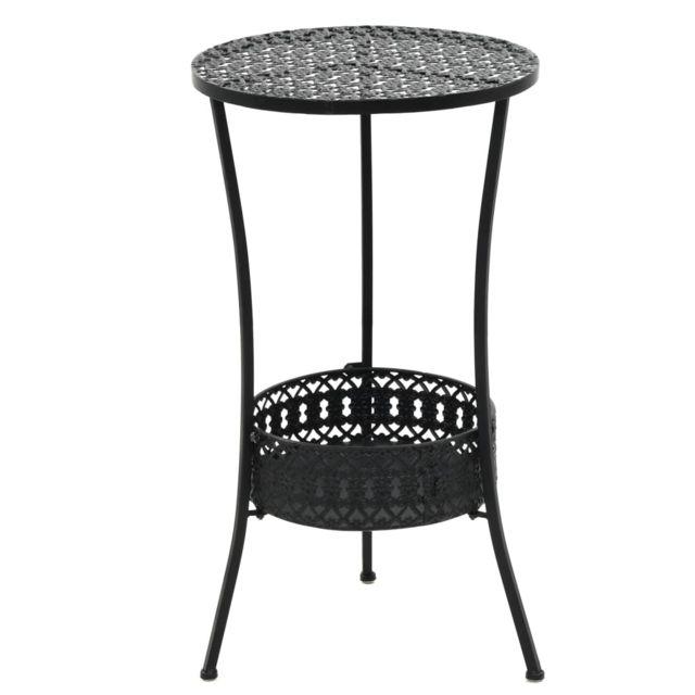 table de bistro style vintage ronde metal 40 x 70 cm noir meubles de jardin