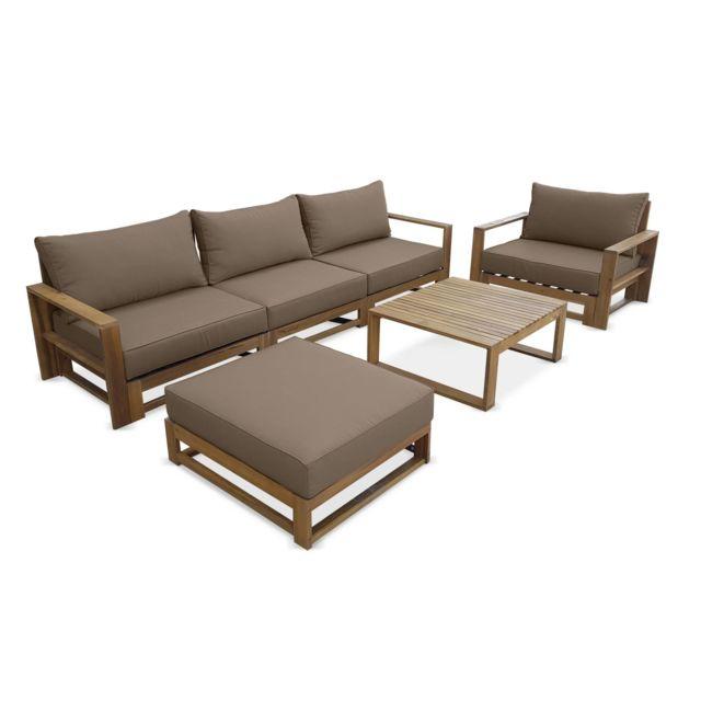 salon de jardin en bois 5 places mendoza coussins taupe canape fauteuils
