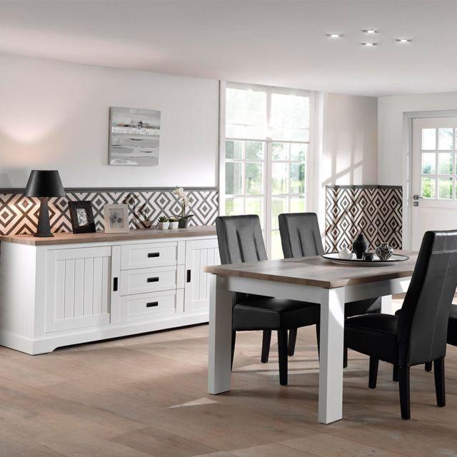 salle a manger blanche et couleur bois contemporaine ethan table 190