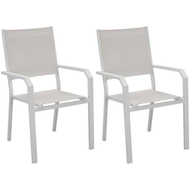 lot de 2 fauteuils de jardin en aluminium gemona