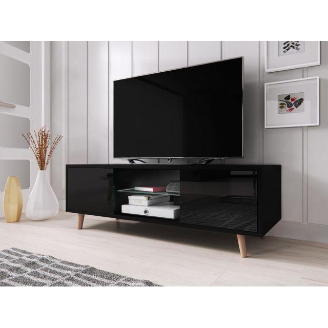 vivaldi meuble tv sweden 140 cm noir mat noir brillant style