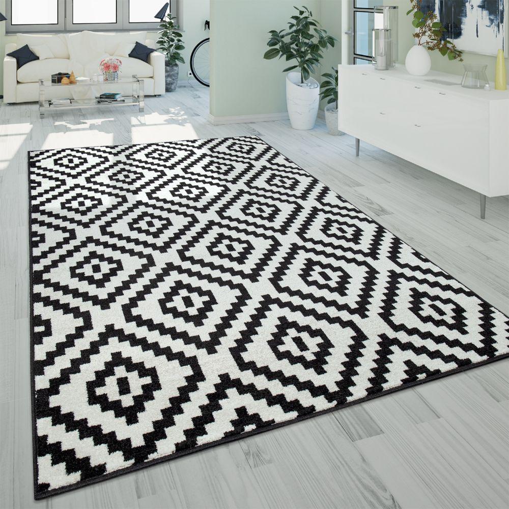 paco home tapis a poils ras salon moderne 3d geometrique motif losanges noir blanc