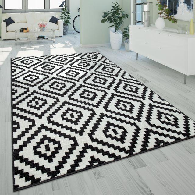 tapis a poils ras salon moderne 3d geometrique motif losanges noir blanc