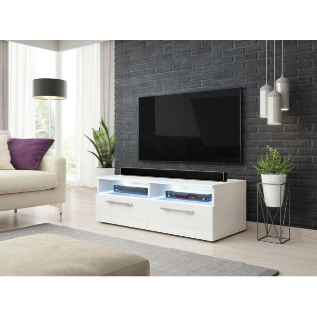 vivaldi meuble tv bonn 100 cm blanc mat blanc brillant led style