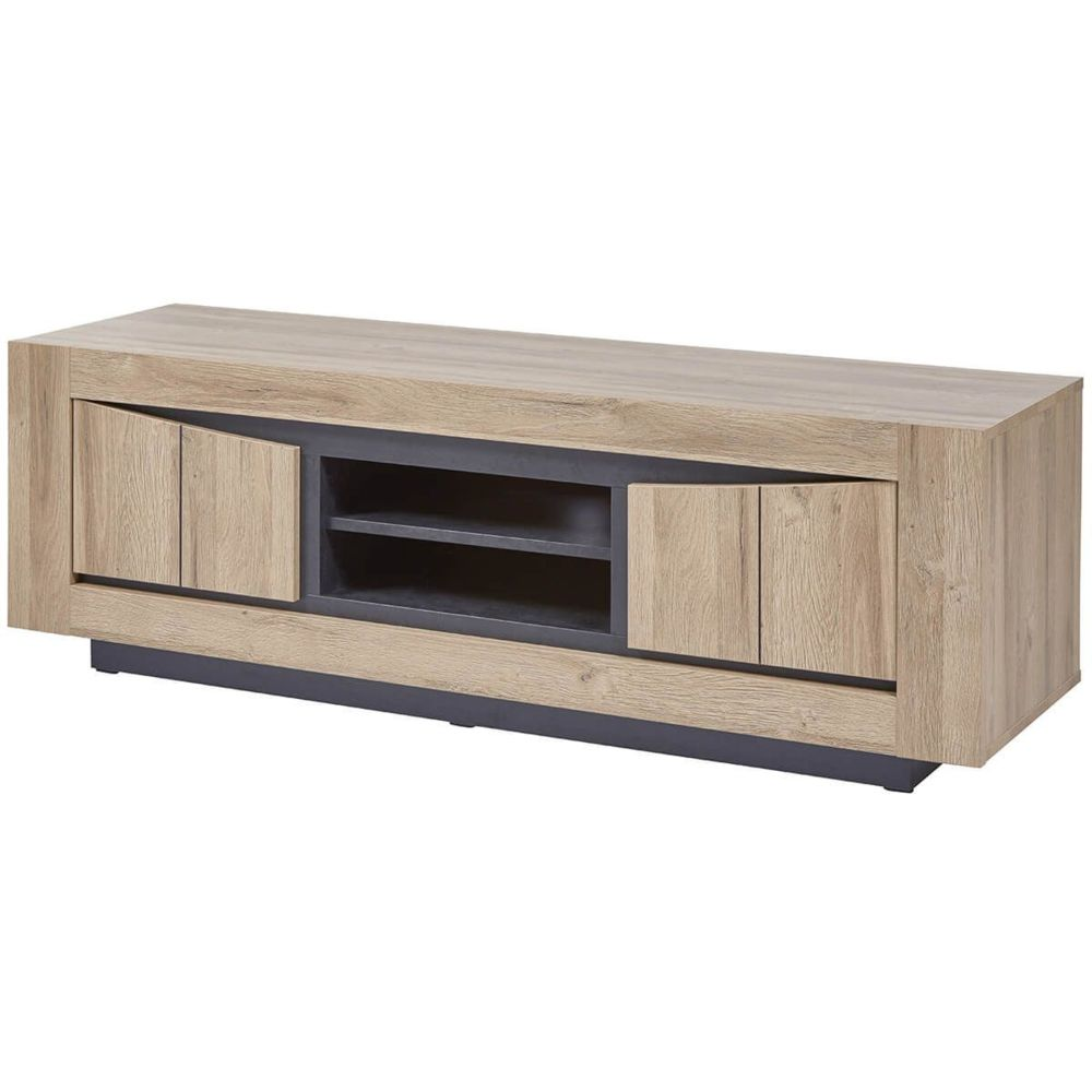 altobuy horatio meuble tv 2 portes avec niche centrale