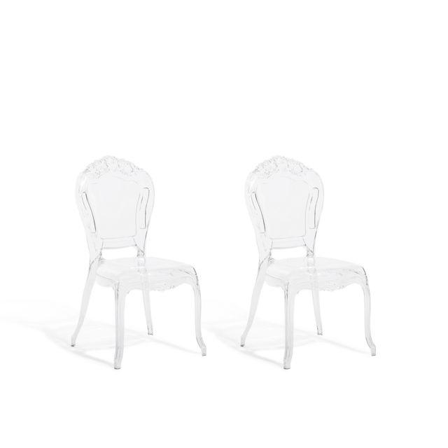 beliani lot de 2 chaises de salle a manger transparent vermont transparent