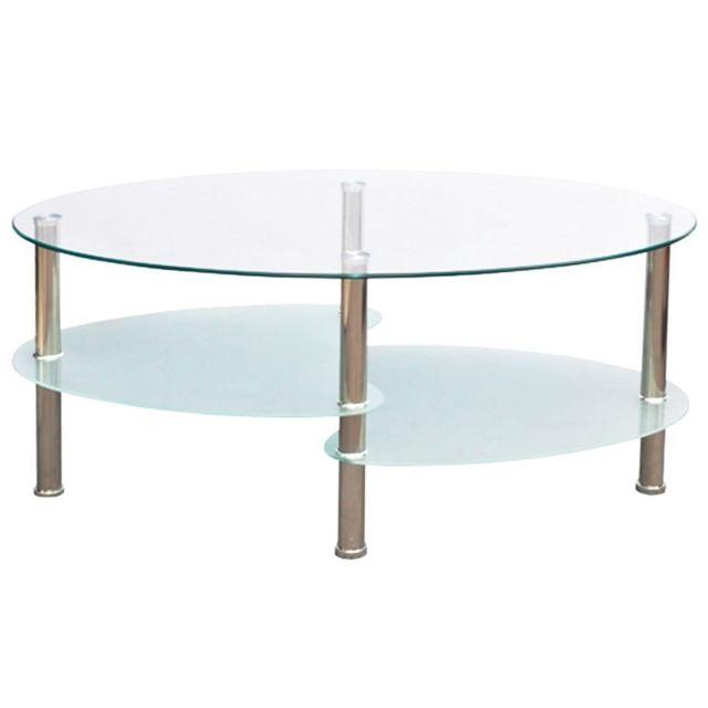 table basse de salon salle a manger design blanche verre ovale 90 x 45 cm