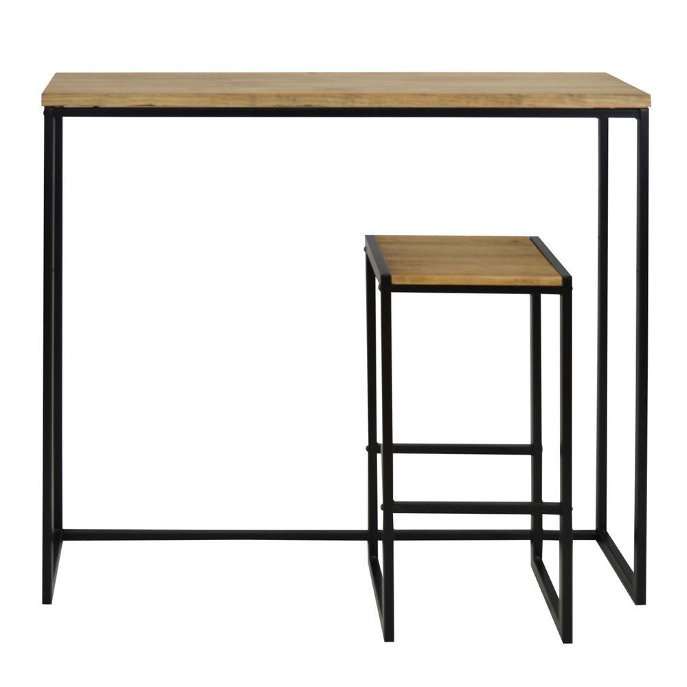 ds meubles table mange debout icub industriel vintage 30x120x110 cm noir